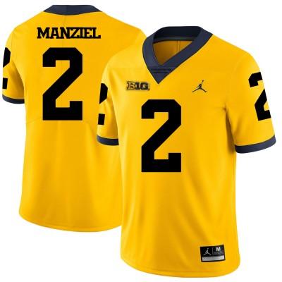 NCAA Michigan Wolverines 2 Johnny Manziel Yellow College Football Legend Men Jersey