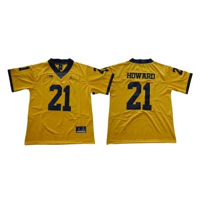 NCAA Michigan Wolverines 21 Desmond Howard Gold College Football  Legend Men Jersey