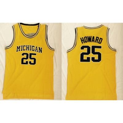 NCAA Michigan Wolverines 25 Juwan Howard Yellow Mesh College Basketball Men Jersey