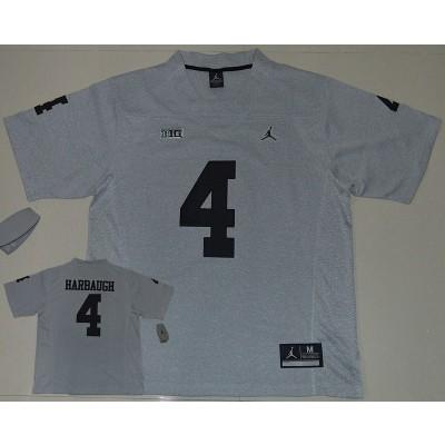 NCAA Michigan Wolverines 4 Jim Harbaugh Grey College Football Men Jersey