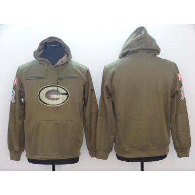 NFL Green Bay Packers Nike 2018 Salute to Service  Sideline Therma Performance Pullover Hoodie Olive