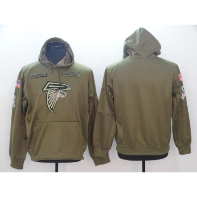 NFL Atlanta Falcons Nike 2018 Salute to Service  Sideline Therma Performance Pullover Hoodie Olive