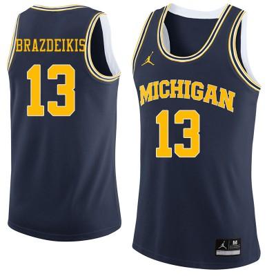 NCAA University of Michigan 13 Ignas Brazdeikis Navy College Basketball Men Jersey