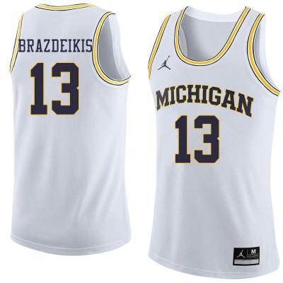 NCAA University of Michigan 13 Ignas Brazdeikis White College Basketball Men Jersey