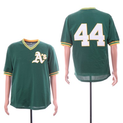 MLB Athletics 44 Reggie Jackson Green Mesh Throwback Men Jersey