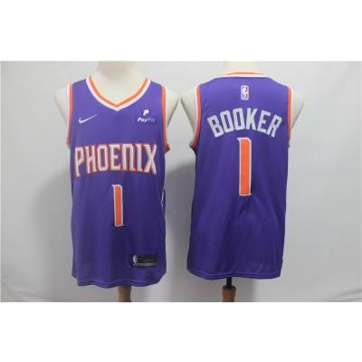 NBA Suns 1 Devin Booker Purple Nike Swingman Men Jersey