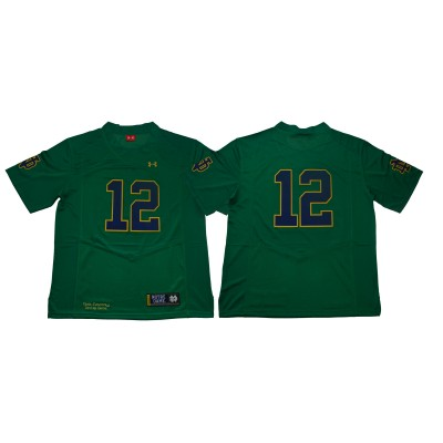 NCAA Notre Dame Fighting Irish 12 Green Under Armour College Football Men Jersey