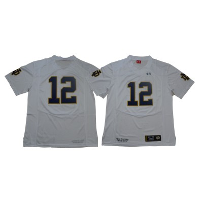NCAA Notre Dame Fighting Irish 12 White Under Armour College Football Men Jersey