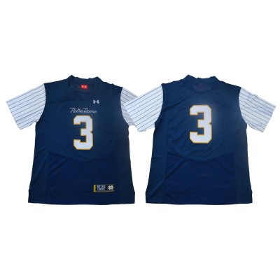 NCAA Notre Dame Fighting Irish 3 Blue Under Armour College Throwback Football Men Jersey