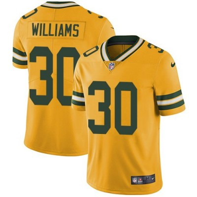 Nike Packers 30 Jamaal Williams Yellow Vapor Untouchable Limited Youth Jersey