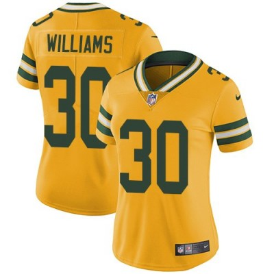 Nike Packers 30 Jamaal Williams Yellow Vapor Untouchable Limited Women Jersey