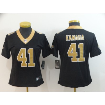 Nike Saints 41 Alvin Kamara Black Vapor Untouchable Limited Women Jersey