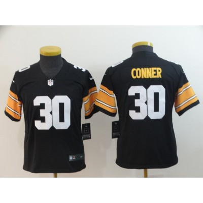 Nike Steelers 30 James Conner Black Vapor Untouchable Throwback Number Limited Youth Jersey