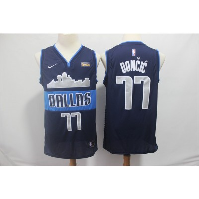 NBA Mavericks 77 Luka Doncic Navy Nike Swingman Men Jersey