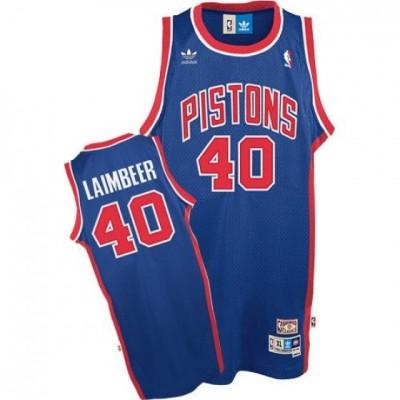 NBA Pistons 40 Bill Laimbeer Blue Throwback Adidas Men Jersey