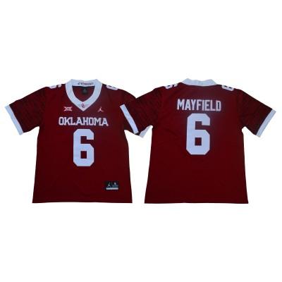 NCAA Oklahoma Sooners 6 Baker Mayfield Red 47 Game Winning Streak College Football Men Jersey