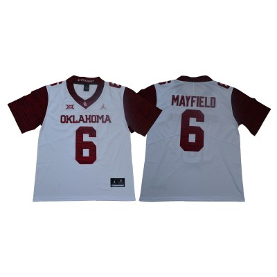 NCAA Oklahoma Sooners 6 Baker Mayfield White 47 Game Winning Streak College Football Men Jersey