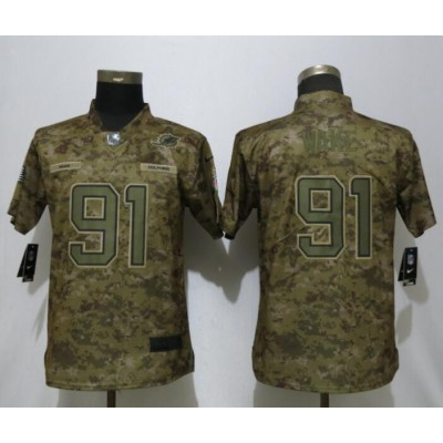 Nike Dolphins 91 Cameron Wake 2018 Camo Salute to Service Limited Women Jersey