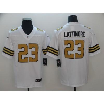 Nike Saints 23 Marshon Lattimor White Color Rush Limited Men Jersey