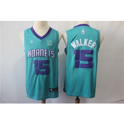 NBA Hornets 15 Kemba Walker Teal Jordan Brand Men Jersey