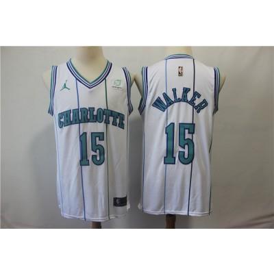 NBA Hornets 15 Kemba Walker White Hardwood Classics Nike Men Jersey