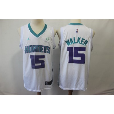 NBA Hornets 15 Kemba Walker White Jordan Brand Men Jersey