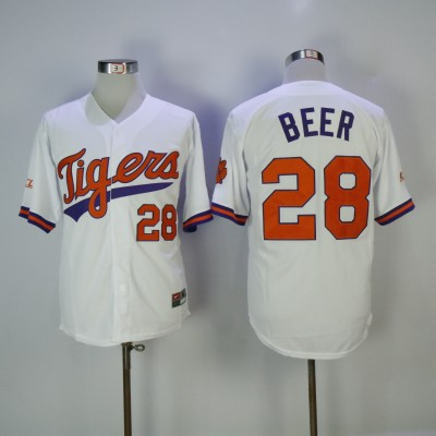 NCAA Clemson Tigers 28 Seth Beer White Nike College Baseball Men Jersey