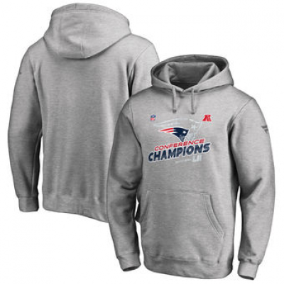 NFL Patriots Heather Gray 2017 AFC Champions Pullover Men Hoodie