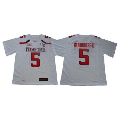 NCAA Texas Tech Red Raiders 5 Patrick Mahomes White College Football Men Jersey