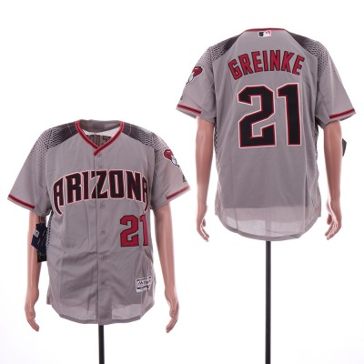 MLB Diamondbacks 21 Zack Greinke Gray Flexbase Men Jersey