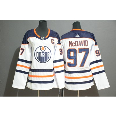 NHL Oilers 97 Connor McDavid White Adidas Women Jersey