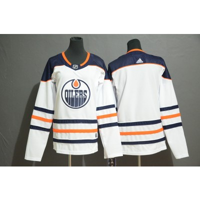 NHL Oilers Blank White Adidas Women Jersey