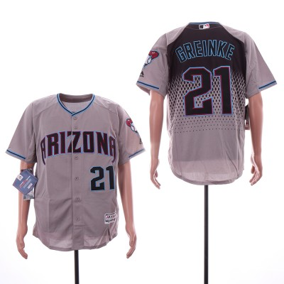 MLB Diamondbacks 21 Zack Greinke Gray Teal Flexbase Men Jersey