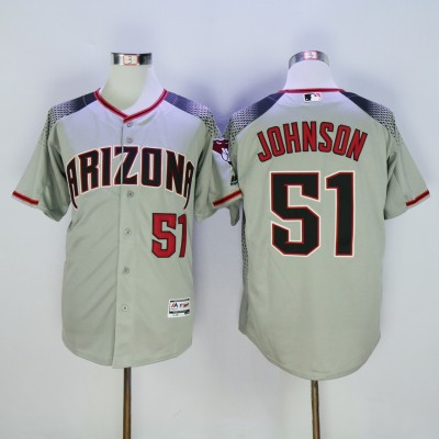 MLB Diamondbacks 51 Randy Johnson Gray Flexbase Men Jersey