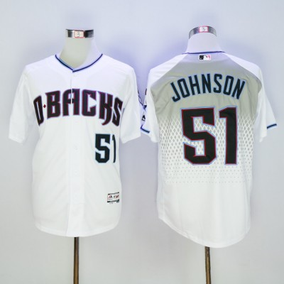 MLB Diamondbacks 51 Randy Johnson White Teal Flexbase Men Jersey