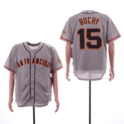 MLB Giants 15 Bruce Bochy Gray Cool Base Men Jersey