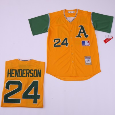 MLB Athletics 24 Rickey Henderson Yellow Retro Throwback Men Jersey