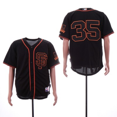 MLB Giants 35 Brandon Carwford Black Alternate Cool Base Men Jersey