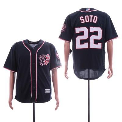 MLB Nationals 22 Juan Soto Navy Cool Base Men Jersey