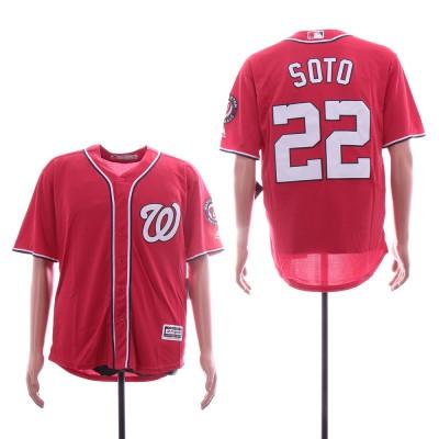 MLB Nationals 22 Juan Soto Red Cool Base Men Jersey