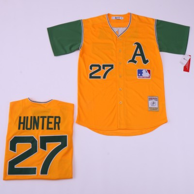 MLB Athletics 27 Catfish Hunter Yellow Retro Throwback Men Jersey