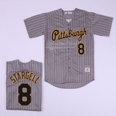 MLB Pirates 8 Willie Stargell Gray Retro Throwback Men Jersey