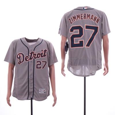 MLB Tigers 27 Jordan Zimmermann Gray Flexbase Men Jersey