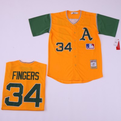 MLB Athletics 34 Rollie Fingers Yellow Retro Throwback Men Jersey