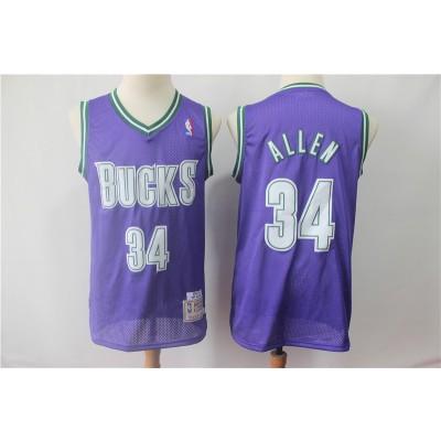NBA Bucks 34 Ray Allen Purple Hardwood Classics Men Jersey