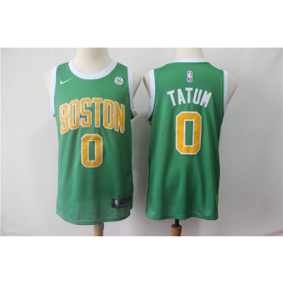 NBA Celtics 0 Jayson Tatum Green Earned Edition Nike Men Jersey