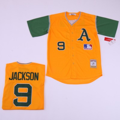MLB Athletics 9 Reggie Jackson Yellow Retro Throwback Men Jersey