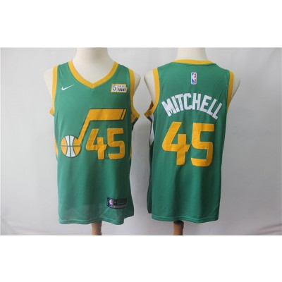 NBA Jazz 45 Donovan Mitchell Green Earned Edition Nike Men Jersey