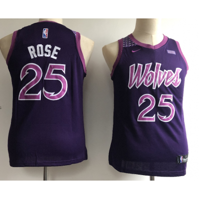 NBA Timberwolves 25 Derrick Rose 2018-19 City Edition Purple Nike Youth Jersey