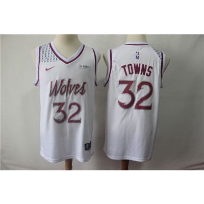 NBA Timberwolves 32 Karl-Anthony Towns White Earned Edition Nike Men Jersey